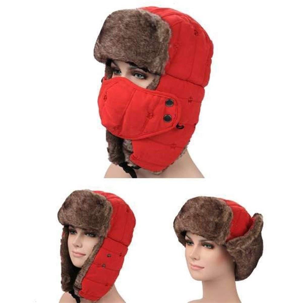 ZhangB Winter Trooper Hut, Mode, Wind und Kälte, Doppel verdickt, mit Ohrenklappen und Warm-Maske, for Ski Klettern Wandern Snowboarding Jagd Wintersport (Farbe : Red, Size : Einheitsgröße)