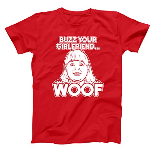 Buzz Your Girlfriend Woof Funny Christmas Holiday Humor Xmas Ugly Christmas Sweater Party Mens Shirt Medium Red