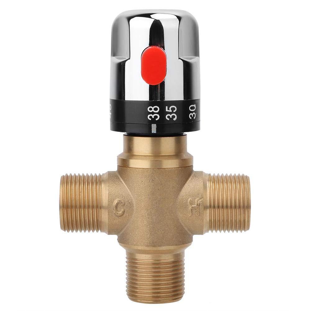 Lat/ón V/álvula mezcladora termost/ática Temperatura del Agua Tuber/ía Cuenca Termostato Control Conectar Agua fr/ía y Caliente V/álvula termost/ática de Mezcla