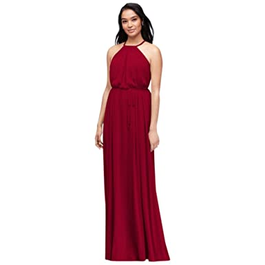 6a6bfbf592 Bridesmaid Soft Mesh Halter Bridesmaid Dress with Slim Sash Style ...