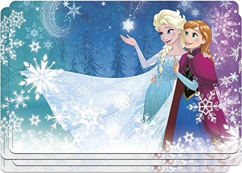[Zak! Designs Placemat with Elsa, Anna and Olaf from Frozen, Set of 4, BPA-free Plastic] (Disney Frozen Placemat)