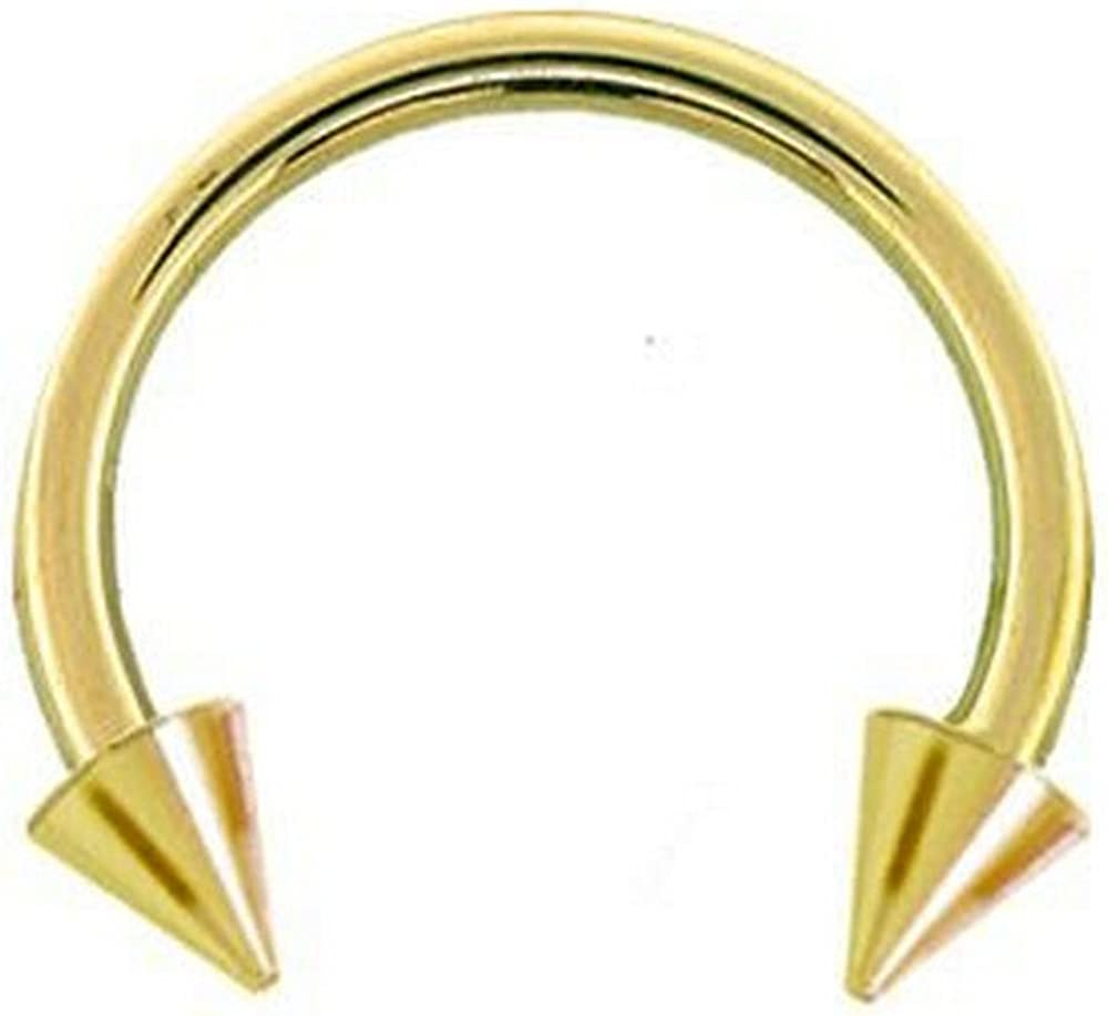 FreshTrends 14 Gauge 1//2 Solid 14K Yellow Gold Spike Circular Barbell 4mm Spikes