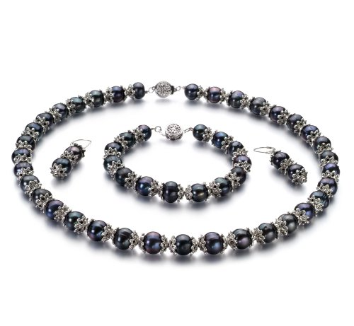 MarieAnt Black 8-9mm AA Quality Freshwater Cultured Pearl Set