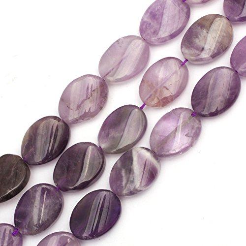 (GEM-inside Amethyst Gemstone Loose Beads 13x18mm Oval Twist Crystal Energy Stone Power Beads For Jewelry Making)