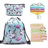 Cheap DRESHOW Unicorn Drawstring Backpack/Make Up Bag/Hair Ties/Bracelet Gift Sets for Girls Pack 8