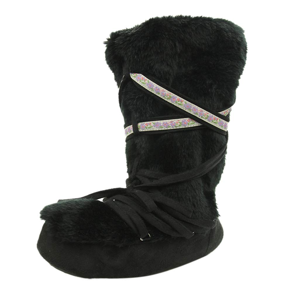 Home Slipper Women's Warm Winter Plush Tall Slippers Indoor House Boots Bedroom Bootie Slippers,Black,US 9/10