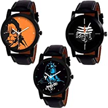 Swadesi Stuff Stylish Black Leather Strap Designer watch of