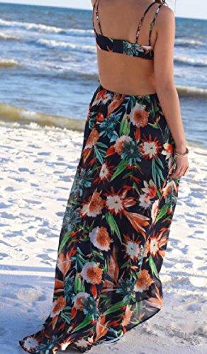 Out Back Spaghetti Boho Dresses Printed Beachwear Leisure Chiffon Strap As2 Coolred Floral Women Cut 0SqY11pw