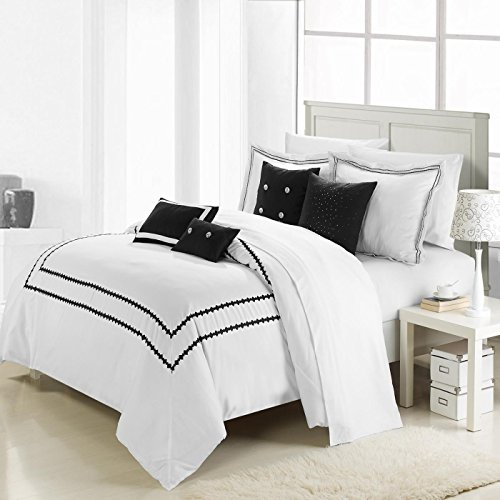 Queen Mandalay (Chic Home 7-Piece Mandalay Embroidered Comforter Set, King, Black)