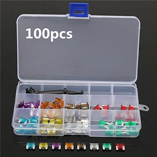 Queenwind 100pcs Queenwind 自動車ブレードヒューズ 3/5/7.5/10/15/20/25/30Amp 品揃えキットセット
