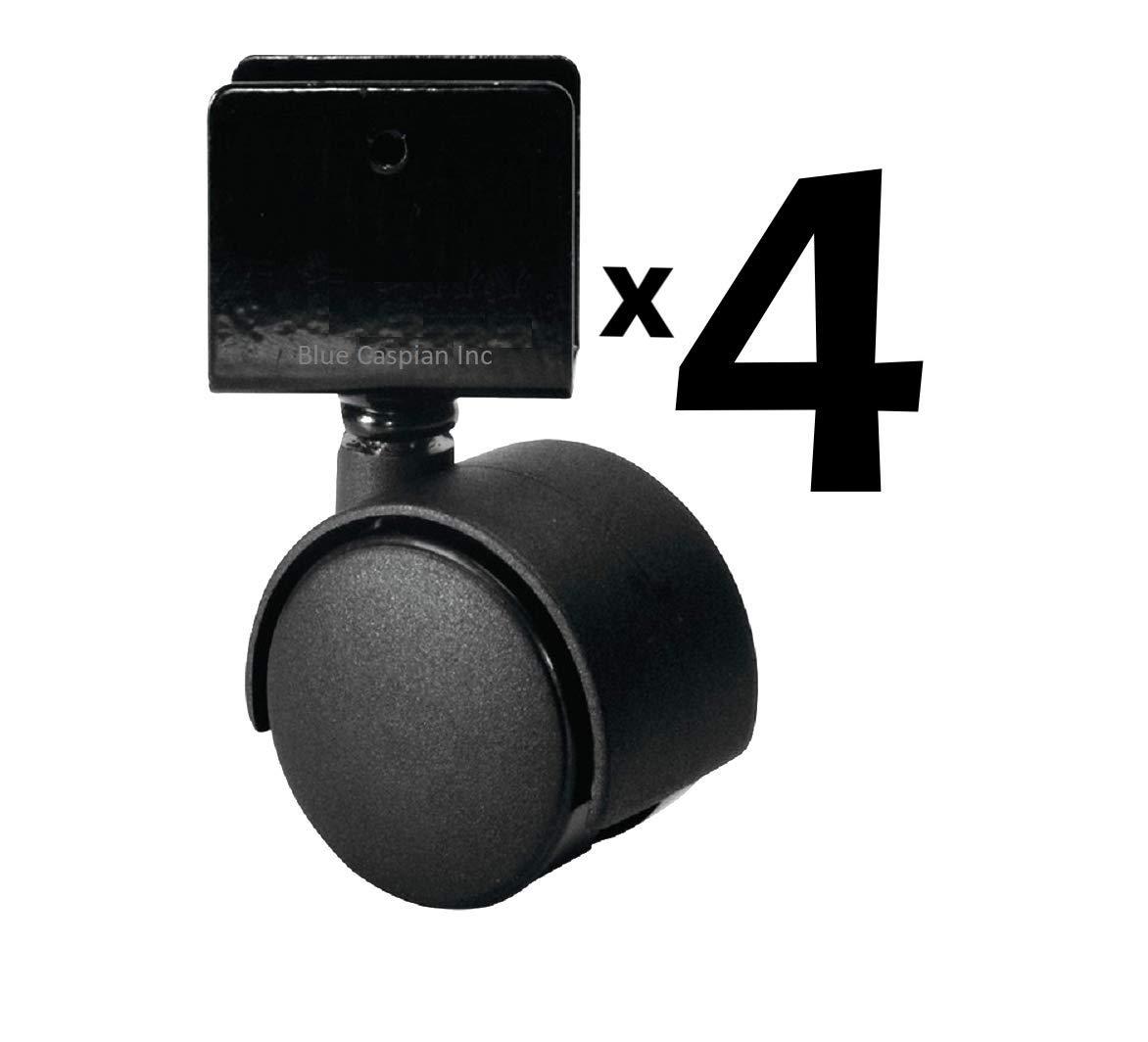 No Brake Black with 3//4 U Bracket Wrap-on Twin Wheel Casters 4pcs