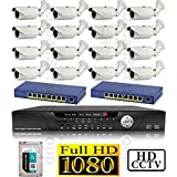 USG 1080P HD IP CCTV Kit: 1x 16 Channel NVR + 16x 1080P 2.8-12mm PoE IP Bullet Cameras + 2x 8 Port PoE Switch + 1x 4TB HDD *** High Definition CCTV Video Surveillance