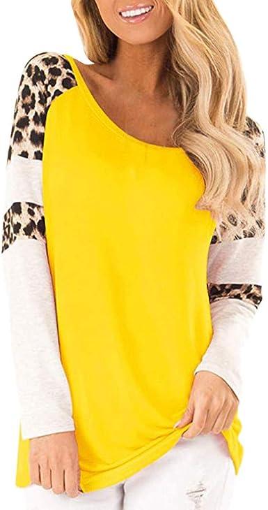 MOTOCO Mujer Leopard Camisa de Manga Larga O Cuello Blusa de Camiseta de Moda Casual(XL, Amarillo): Amazon.es: Ropa y accesorios