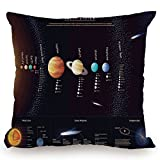 KissCase Throw Pillow Cushion Cover,Outer Space Decor,Detailed Solar System with Scientific Information Jupiter Saturn Universe Telescope Print,Multi,Decorative Square Accent Pillow Case