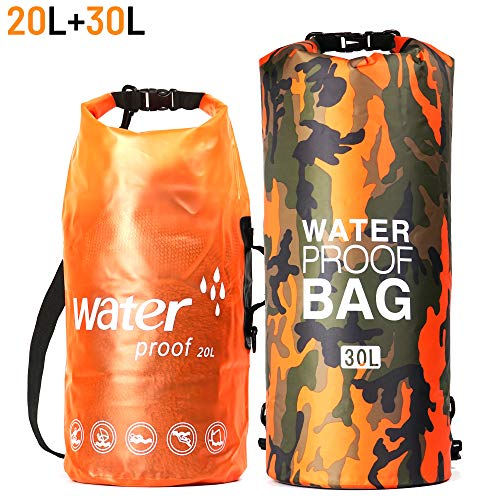 MARJAQE Waterproof Dry Bag Sac 20L/30L 2-Pack All Purpose Waterproof Sack Foldable Backpack for Floating Kayaking Fishing Canoeing Hiking Camping Boating Rafting Beach