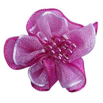 6pc Flower Chiffon Ribbon Applique DIY Sewing Craft Scrapbooking Card Making