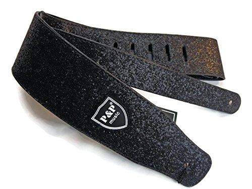 Guitar Strap Leather Sparkle Polyurethane Adjustable Acoustic Electric Black