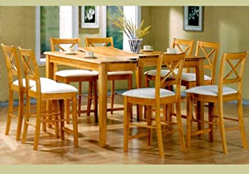 Amazon.com: 9 Piece Maple Finish Counter Height Dining Set with ...