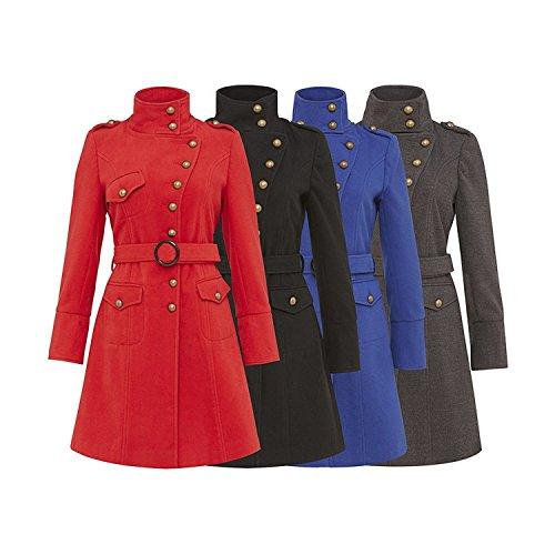 De Funnel Mujer Con Abrigo La Chicas Tacto Militar Exterior Crema Rojo Chaqueta Invierno neck Lana Botón Cinturón Detalle nY1xpq81w