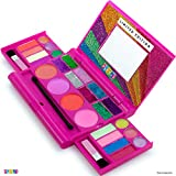 Kids Makeup Palette For Girl – Real Washable Kids Makeup - My First Princess Make Up Set Include 4 Blushes, 8 Eyeshadows, 6 Lip Glosses, 8 Glitter Glaze, Mirror, Brushes, Eyeshadow Wand - Best Gift