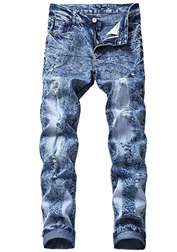 FREDD MARSHALL Men's Blue Ripped Distressed Straight Fit Mid Waist Washed Stretch Fashion Denim Jeans Pants