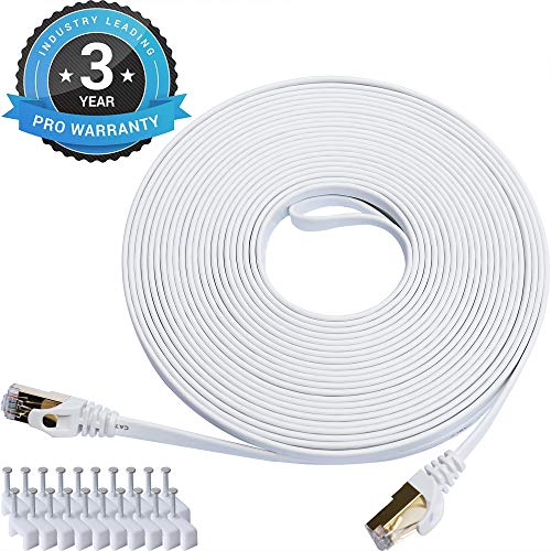Cat 7 Ethernet Cable 50 ft LAN Cable Internet Network Cord for PS4, Xbox, Router, Modem, Gaming, White Flat Shielded 10 Gigabit RJ45 High Speed Computer Patch Wire.