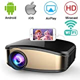 Wireless WiFi Projector,Weton Portable Mini LED Video Projector Full HD 1080P Home Theater Movie Projector with HDMI USB VGA SD AV for Home Cinema Xbox ONE 130'' Max Display (C6-Upgraded)