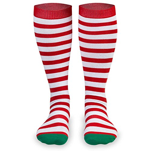 Gone For a Run Knee High Half Cushioned Athletic Running Sock | Running Christmas Elf (Red and White Stripes/Green) one size fits all