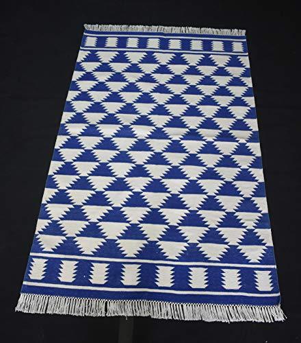 Hand Woven Traditional Home Decorative Anatolia Cotton Kilim Area Rug Blue Color Area Rug Flat Woven Rug