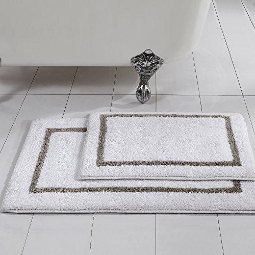 Amrapur Overseas Reversible Contrast Stripe Bath Mat Set (2 Pack), 17″ x 24″/21″ x 34″, Taupe