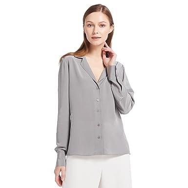 ea49414af3bf6 LilySilk Women s 100% Silk Blouse Long Sleeve V Neck Ladies Shirt 18 Momme  Silk (