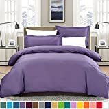 Purple Duvet Cover SUSYBAO 100% Natural Cotton 2 Pieces Duvet Cover Set Twin/Single Size 1 Duvet Cover 1 Pillow Sham Lilac/Purple Luxury Quality Soft Breathable Comfortable Fade Stain Wrinkle Resistant with Zipper Ties
