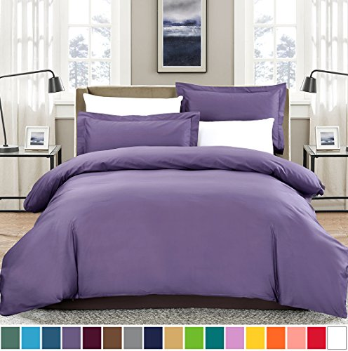 SUSYBAO 3 Pieces Duvet Cover Set 100% Natural Cotton King Size 1 Duvet Cover 2 Pillow Shams Lilac Purple Luxury Quality Soft Breathable Comfortable Fade Stain Wrinkle Resistant with Zipper Ties