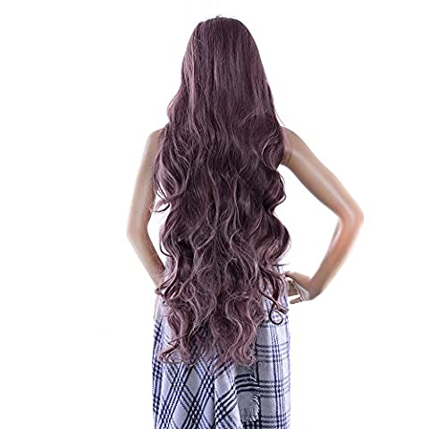 AGPtEK 40 Inches High Temperature Japanese Fiber & professional Wig Long curly wave Lolita Cosplay Fashion Hair Heat Resistant Full Wig-Taro Purple