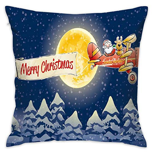 Uanlic Decorative Throw Pillows Covers with Insert,Santa Claus Airline Theme Vintage Plane Full Moon Snow Covered Trees,18x18 Inches Square Patio Cushions for Couch Bed Sofa Patio Furniture (Uk Patio Square Furniture Covers)