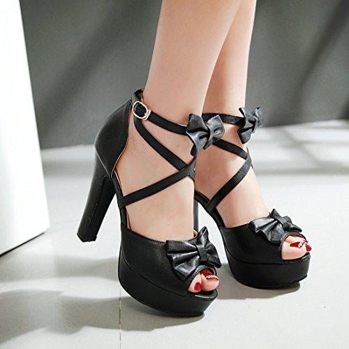 Ancho Correa de Tacón High Mujer UH Zapatos Platform de Tobillo Negro con Tacon Heels Sandalia Alto Plataforma Lazo wFnvPZ