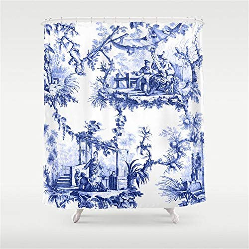 (Breezming Blue Chinoiserie Toile Shower Curtain 60 x 72 inch )