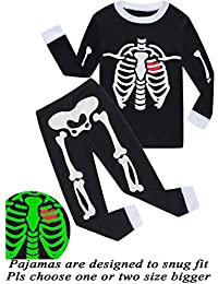 Girls Halloween Pajamas Kids Pjs Skeleton Glow-in-The-Dark Toddler Halloween Clothes