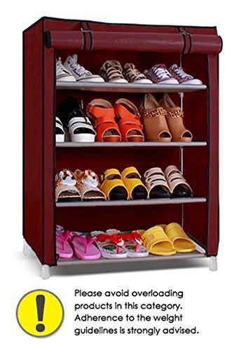 Pindia Shoe Cabinet , 4 5 Layer Maroon Shoe Rack Organizer Part 5