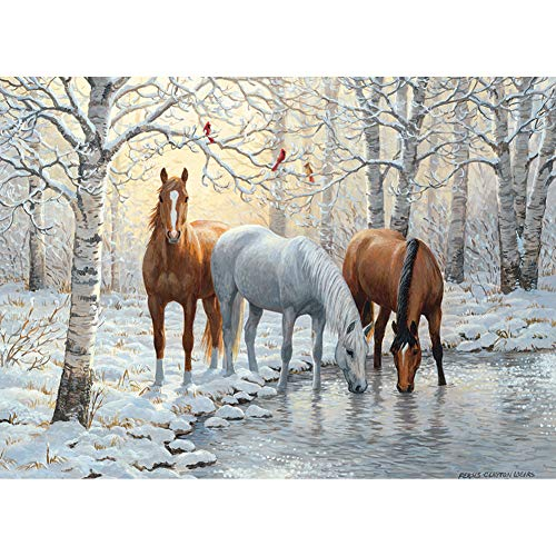 Outset Media Horses Winter Trio 1000 Pieces Jigsaw Puzzle - 26.75