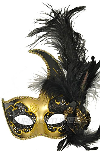 Black Swan Halloween Costume Makeup (Mardi Gras Masquerade Black Swan Crescent Mask (Black/Gold))