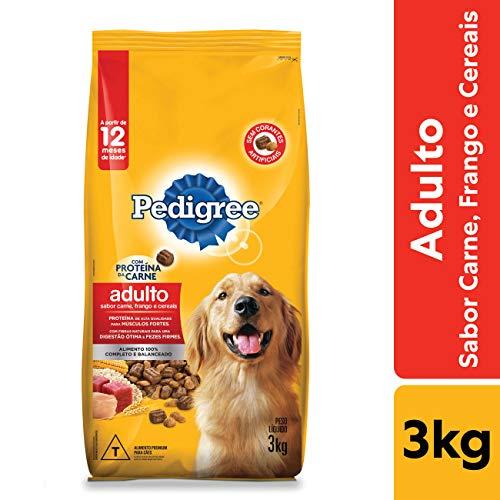 Ração Pedigree Carne Frango e Cereais Para Cães Adultos Raças Médias e Grandes 3 kg
