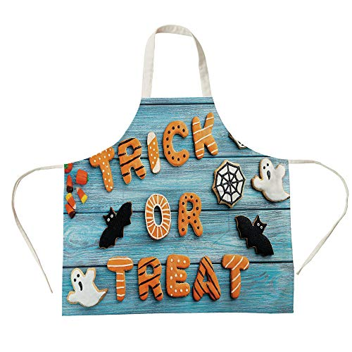 3D Printed Cotton Linen Big Pocket Apron,Halloween,Fresh Trick