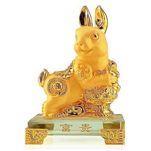 VanEnjoy Small Chinese Zodiac Rabbit Golden Resin Collectible Figurines Table Decor Statue