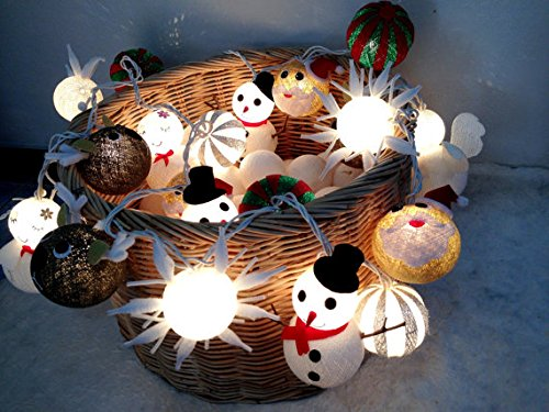 Cotton Balls Christmas set Fairy String Wedding Valentine Party Lights Christmas Decor Patio 20 Lights By' Thai decorated by Thai Decorated