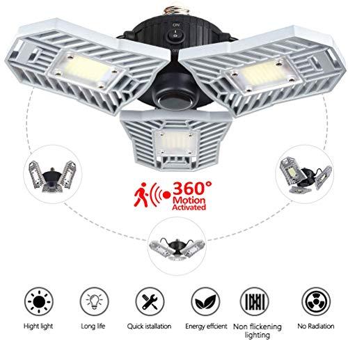 Motion Activated Light,60w E26 Deformable Led Garage lights,Lamp,ceiling light,Radar Home Lighting,Warehouse,Studio,Basement,Wine Cellar (Radar) from Coomoors