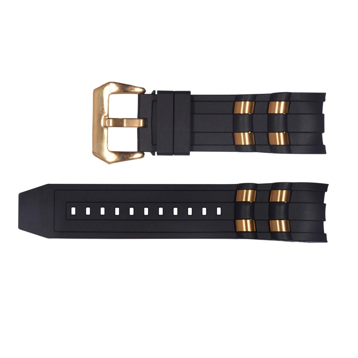 Vicdason for Invicta Pro Diver Watch Bands Replacement Strap with Bukcle Metal Inserts - Black Rubber Silicone Invicta Watch Strap by Vicdason (Image #1)