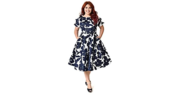 8a39ef3f8 Unique Vintage Plus Size 1950s White & Navy Floral Bow Sleeve Selma Swing  Dress: Amazon.ca: Clothing & Accessories