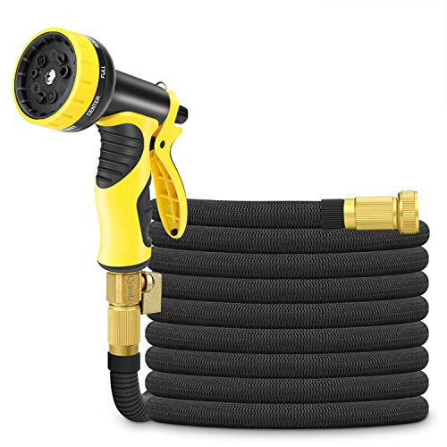 Cysmile 50ft Expandable Garden Hose, Triple Layer Latex Core and All Brass Connectors Expanding Water Hose with 9 Pattern High-Pressure Water Spray Nozzle for Plant Watering & Car,Pet Washing Black