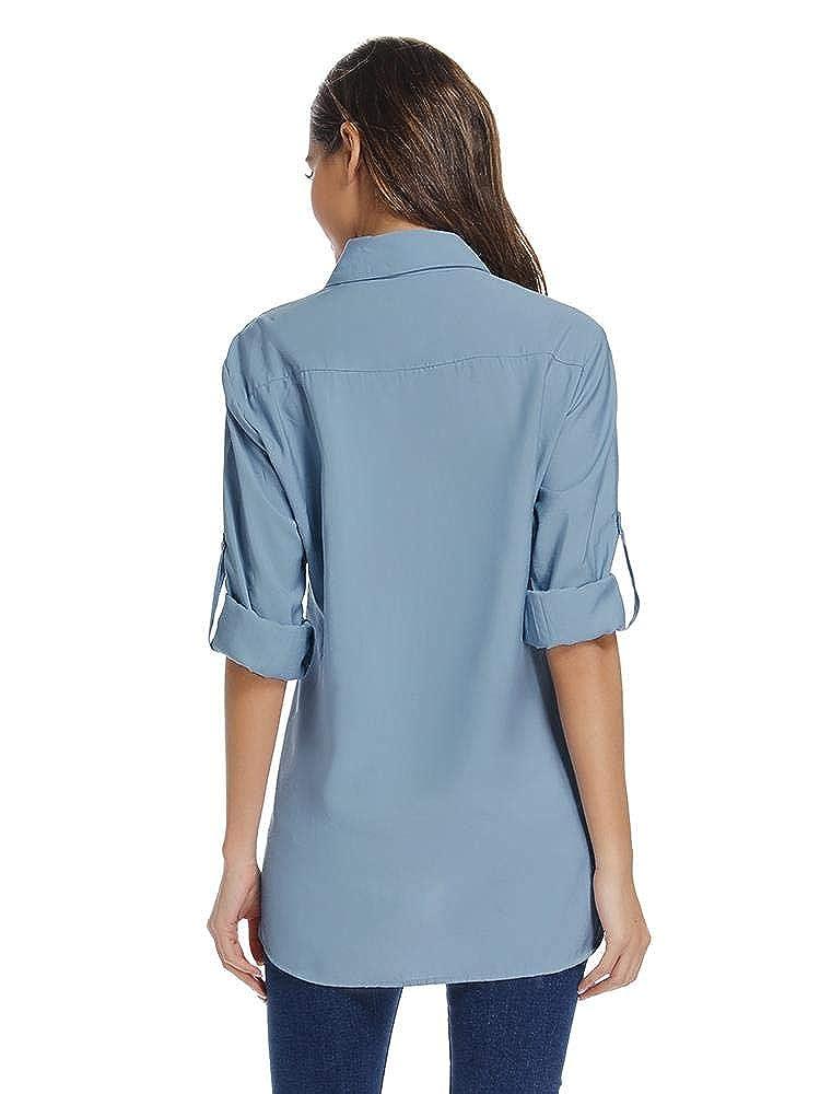 Womens Quick Dry Sun UV Protection Roll Up Sleeve Hiking Shirts Sun Shirts
